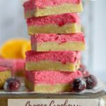 pinterest graphic for orange cranberry sugar cookie bars