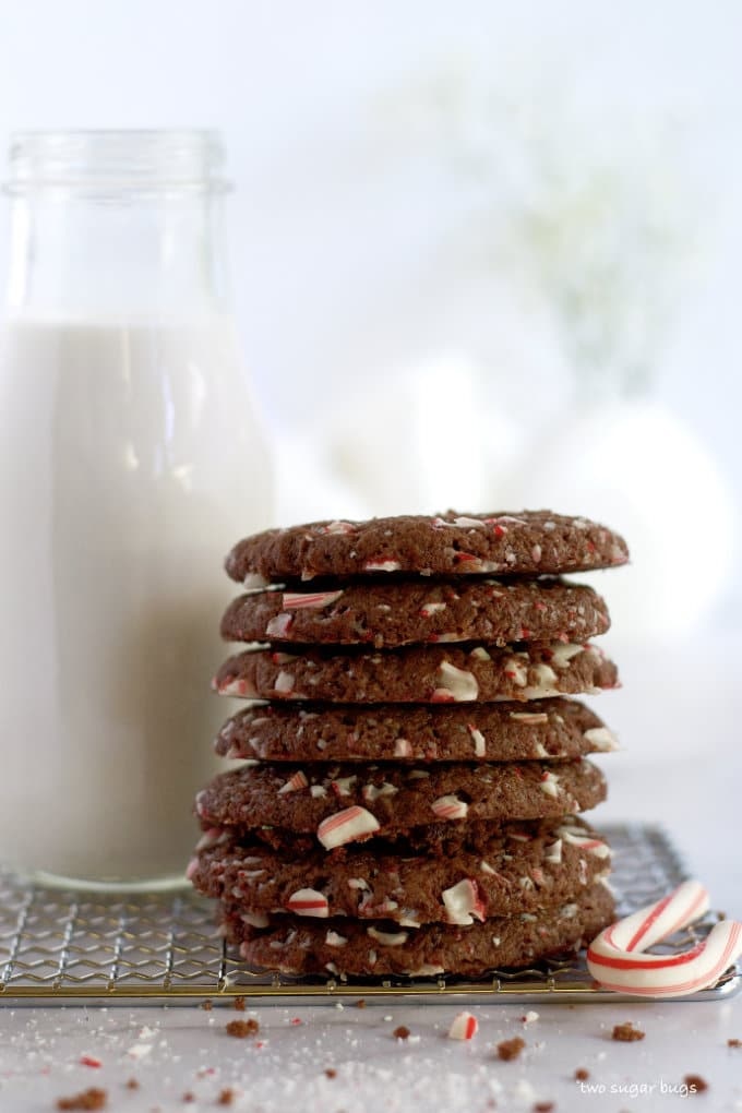 stack of double peppermint chocolate cookies and a glass of milk