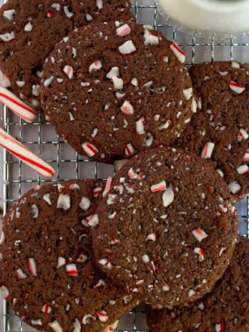 double peppermint chocolate cookies on a cooling rack