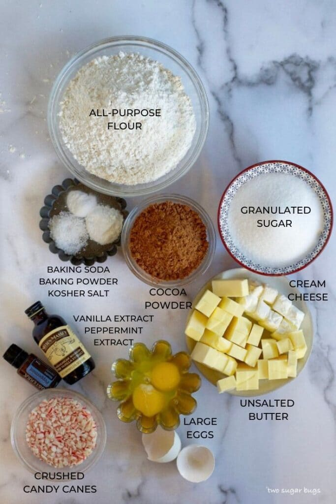 ingredients for double peppermint chocolate cookies