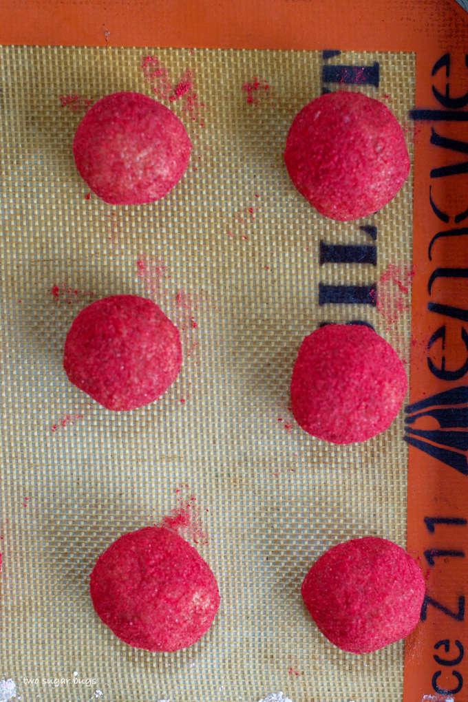 raspberry hazelnut cookie dough on a baking mat