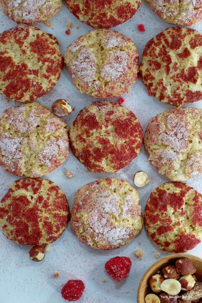 raspberry hazelnut cookies lined in rows