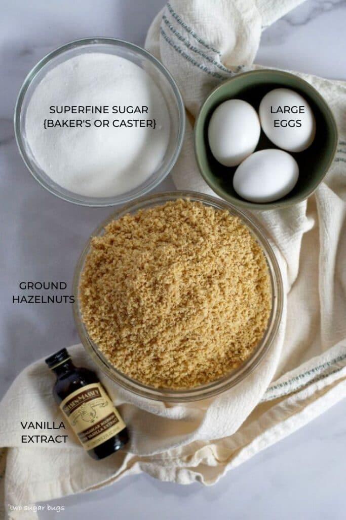 Ingredients for hazelnut cookies