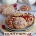 pinterest graphic for raspberry hazelnut cookies