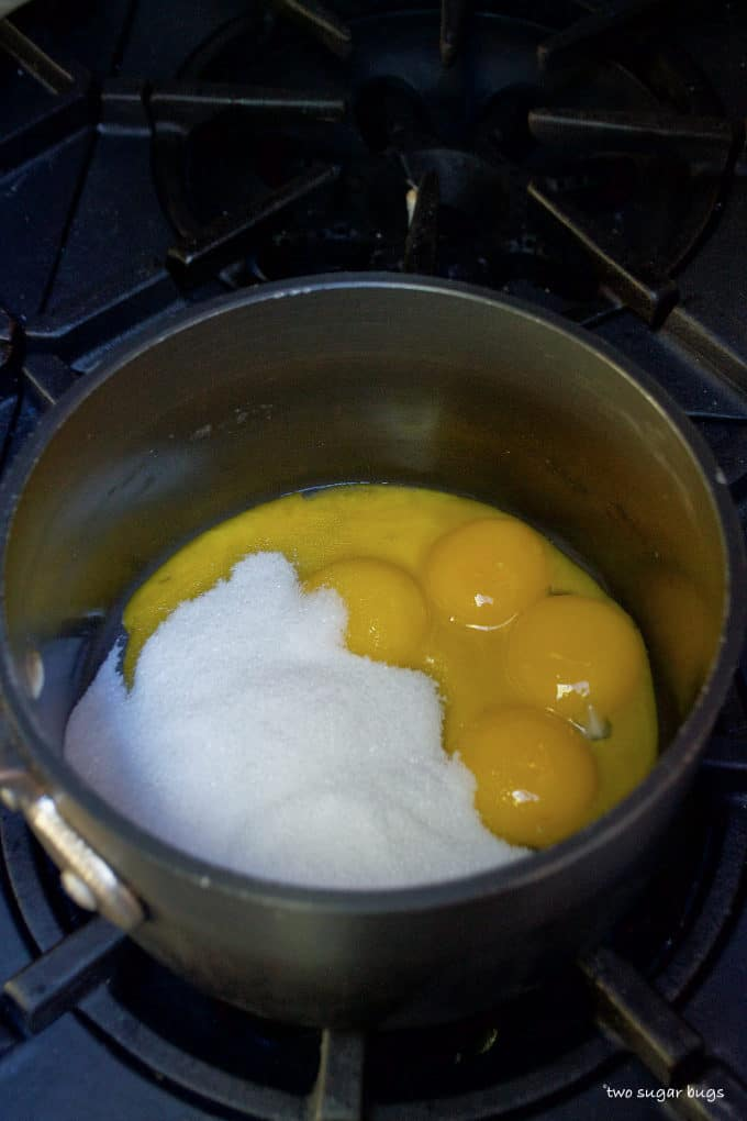 eggs and sugar in a saucepan