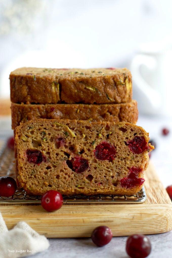 a slice of cranberry zucchini bread