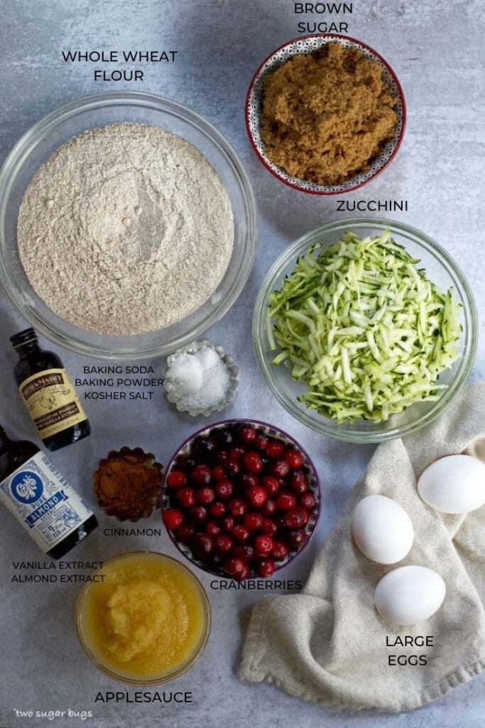 ingredients for whole wheat cranberry zucchini bread