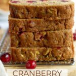 pinterest graphic for whole wheat cranberry zucchini bread