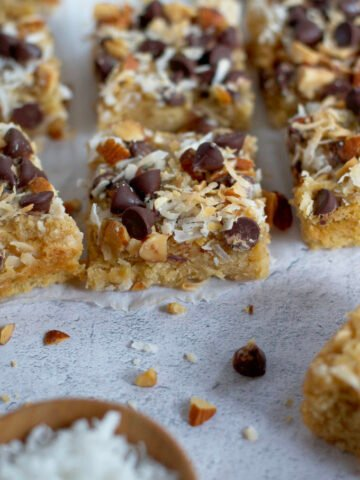 cut brown sugar snack cake bars on parchment paper
