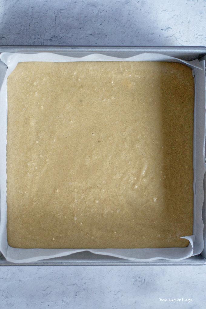 brown sugar snack cake batter in prepared 8x8 baking pan