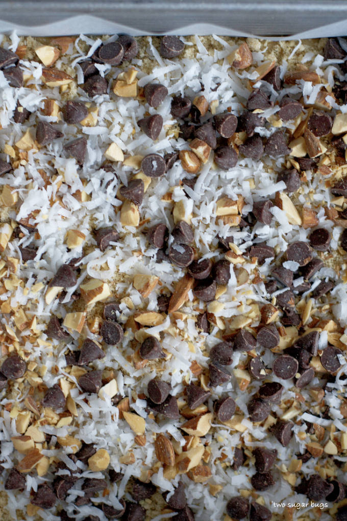 close up of chocolate chips, coconut and almonds on top of brown sugar snack cake bars