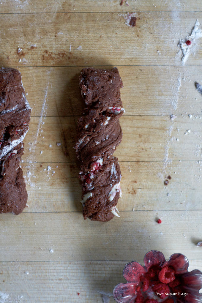chocolate dough twisted on a cutting board
