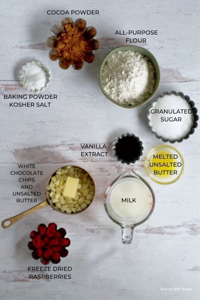 ingredients for double chocolate raspberry rolls