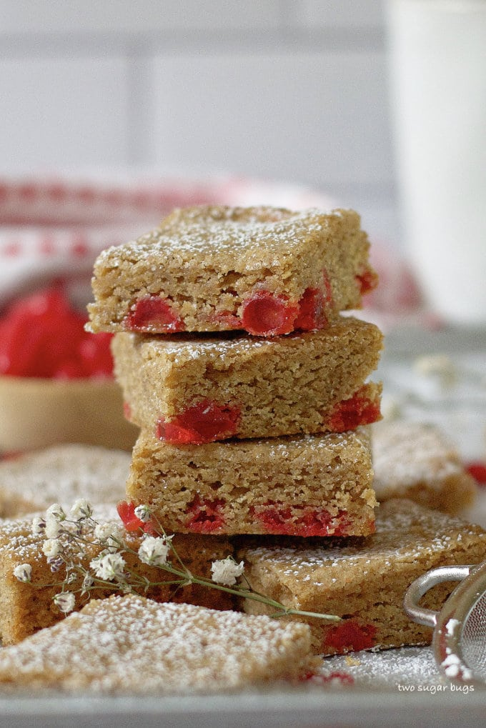 stack of red hot cinnamon cookie bars