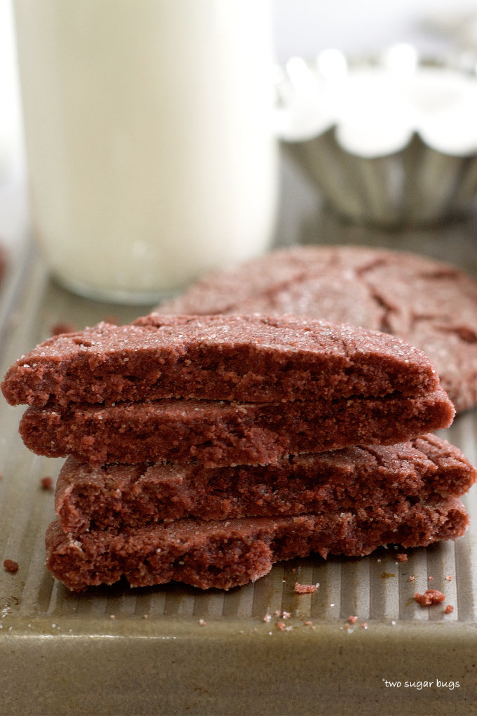 inside look at the texture of red velvet sugar cookies