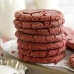 pinterest graphic for red velvet sugar cookies
