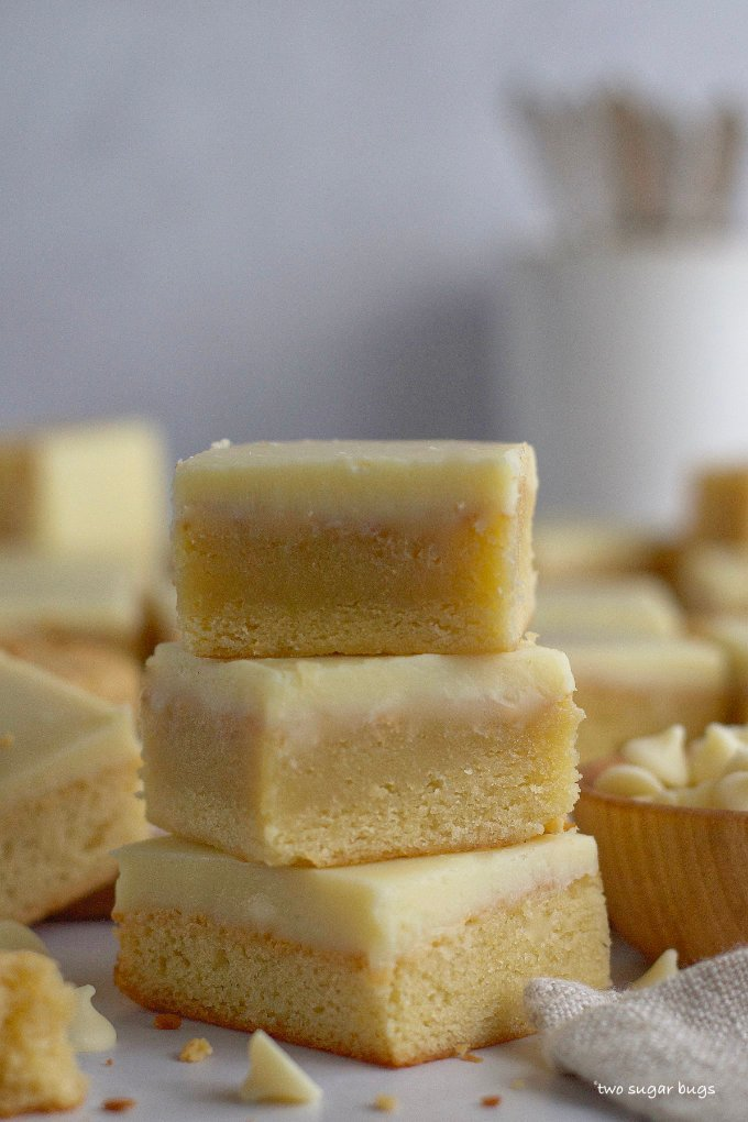 stack of three easy white chocolate brownies