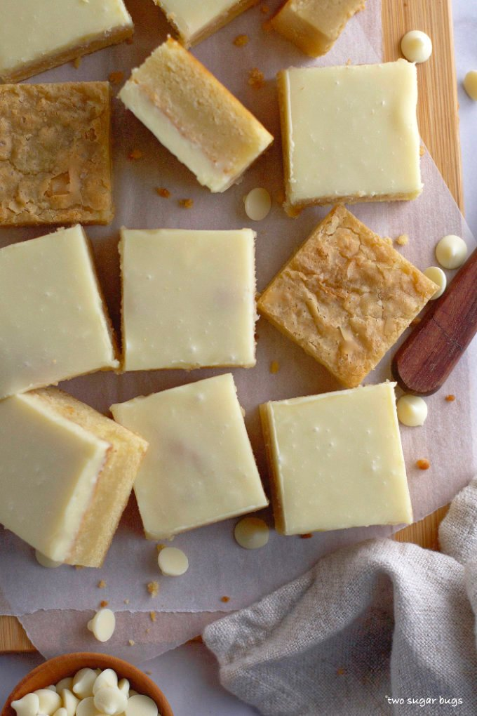 white chocolate brownies, some with ganache, some without