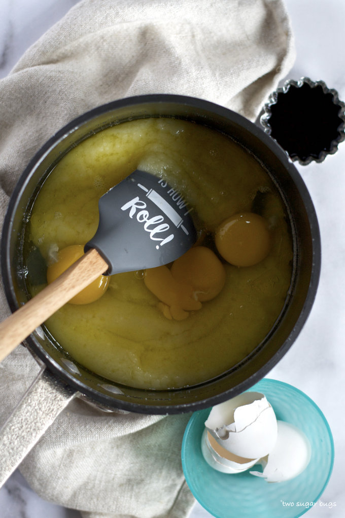 melted butter, white chocolate, sugar, eggs and vanilla in a saucepan