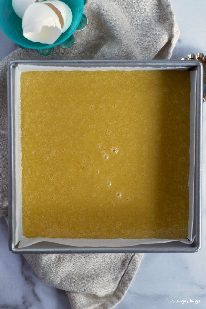 white chocolate brownie batter in a baking pan