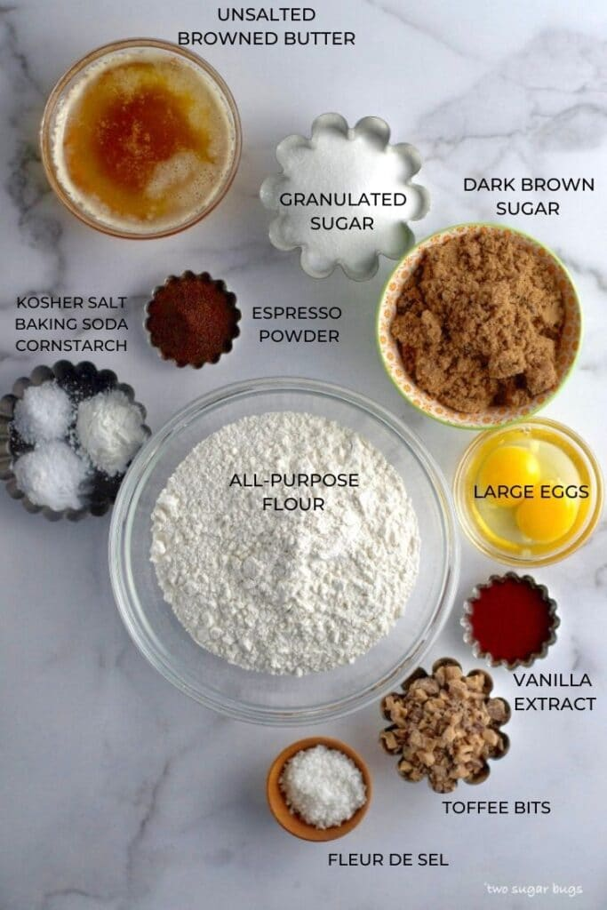 ingredients for espresso brown butter toffee cookies
