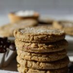pinterest graphic for espresso brown butter toffee cookies