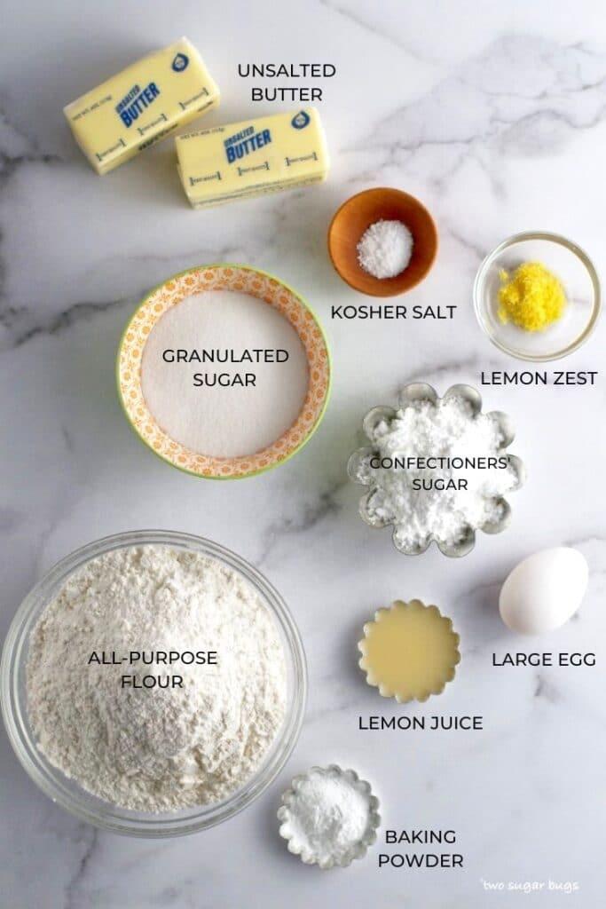 ingredients for lemon cut-out sugar cookies