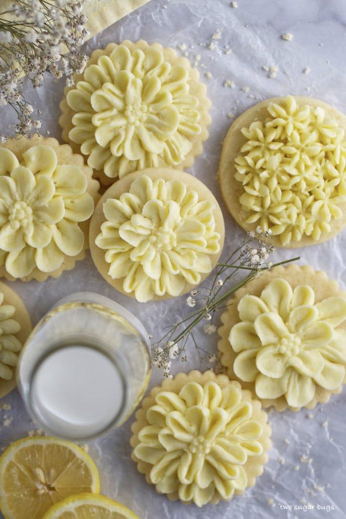 lemon cut out sugar cookies with milk