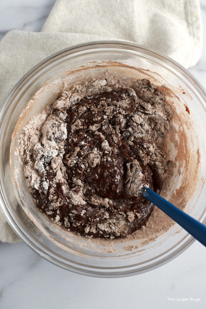 dry ingredients mostly mixed into brownie batter