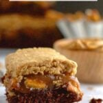 pinterest graphic for peanut butter caramel pretzel brownies