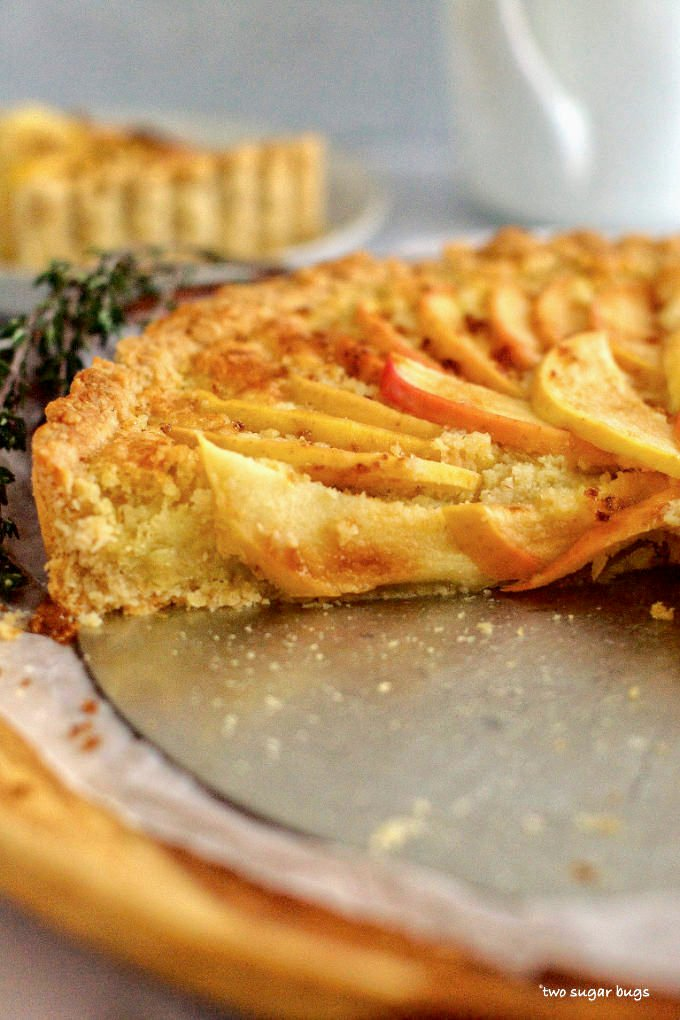 side view of sliced frangipane tart