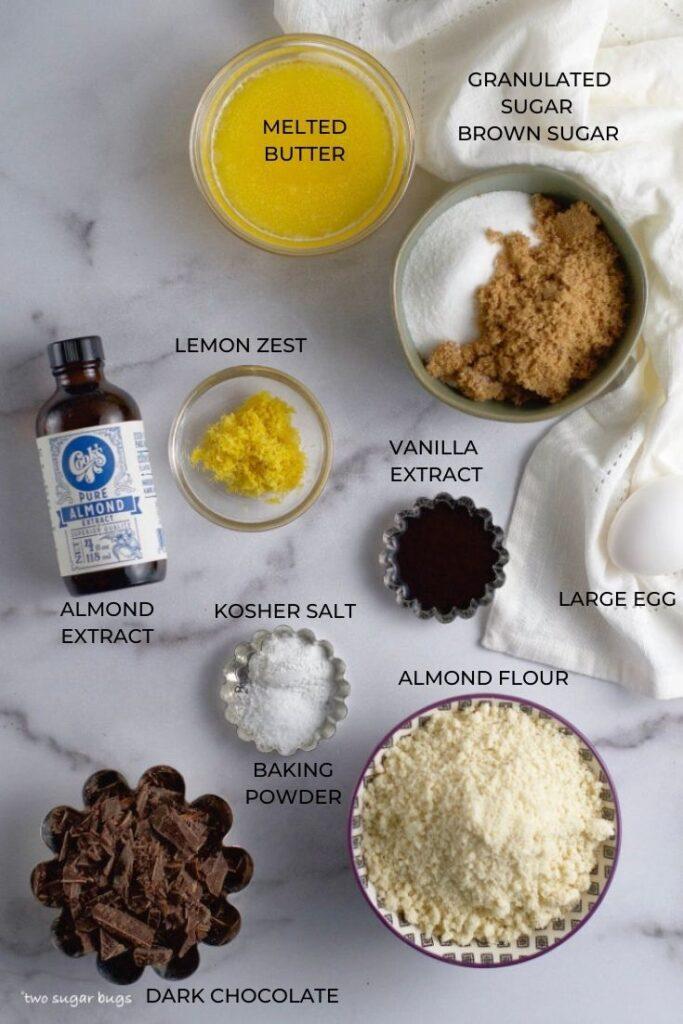 ingredients for lemon almond cookie bars