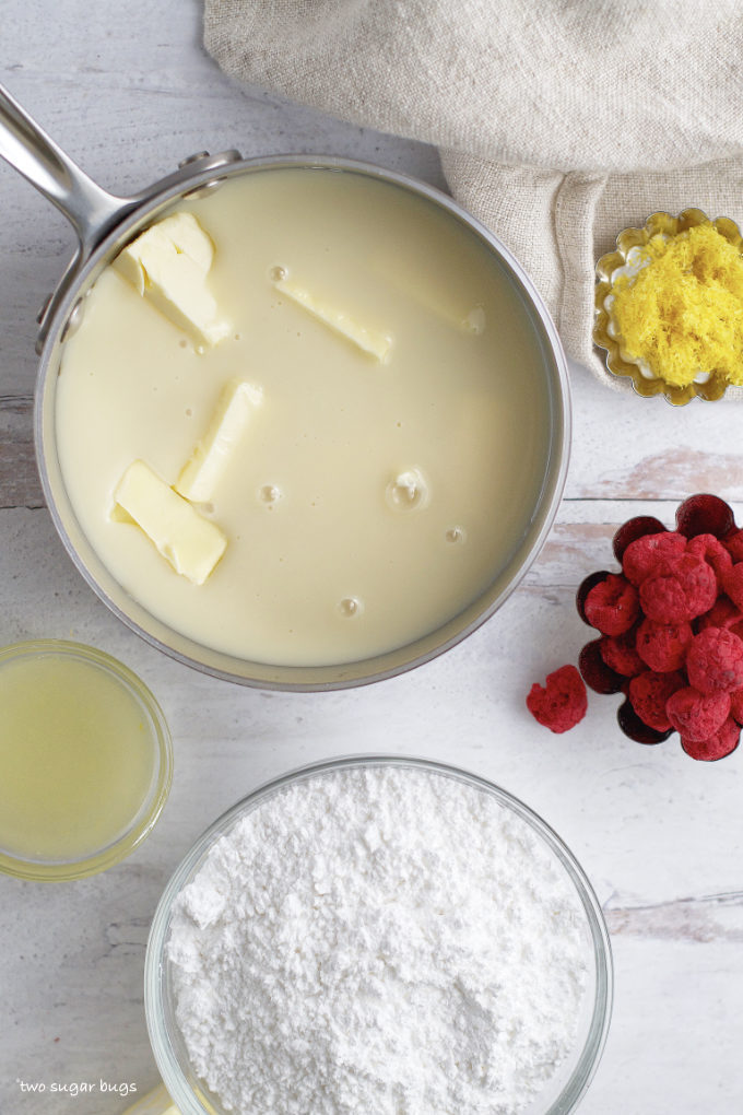 sweetened condensed milk and butter in a saucepan