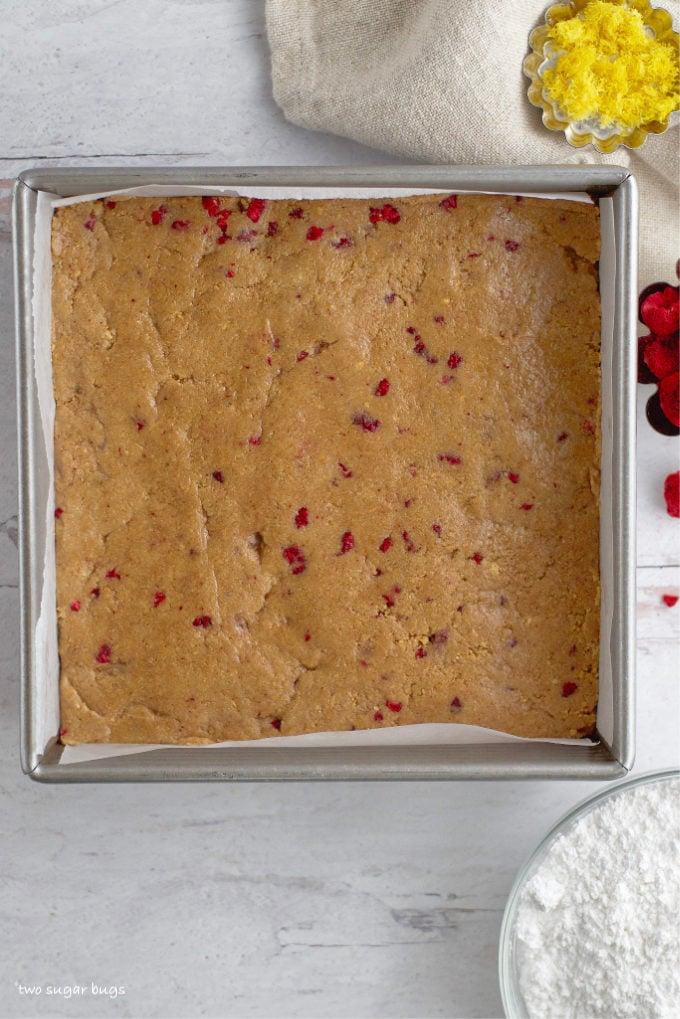lemon raspberry layer in a baking pan