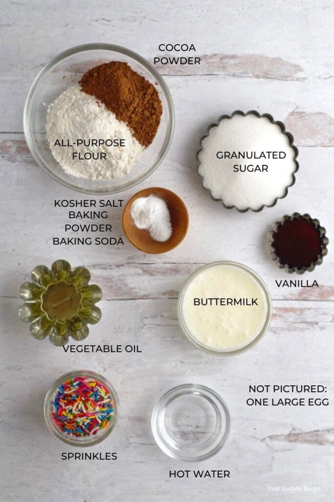ingredients for small batch chocolate cupcakes
