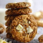 pinterest graphic for brown butter oatmeal white chocolate cookies