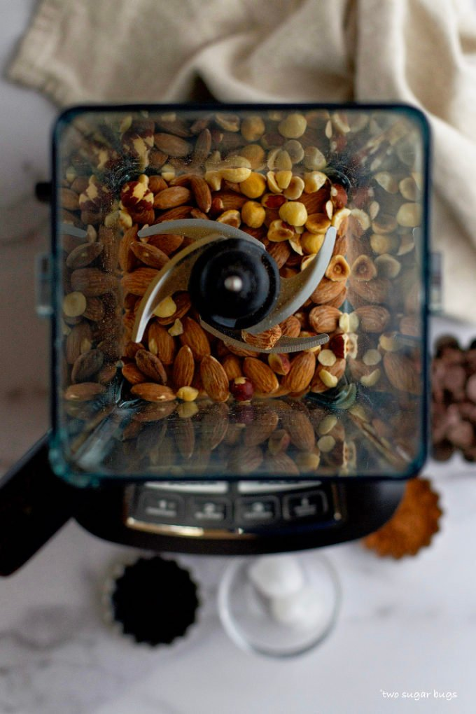 almonds and hazelnuts in a blender