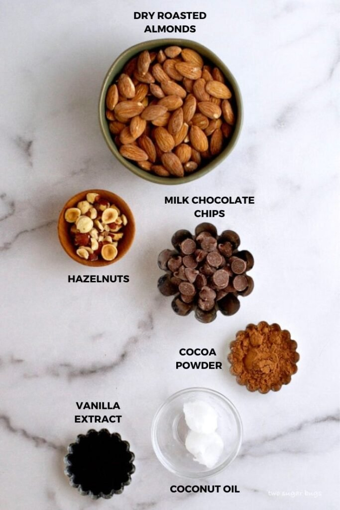 ingredients for homemade chocolate almond spread