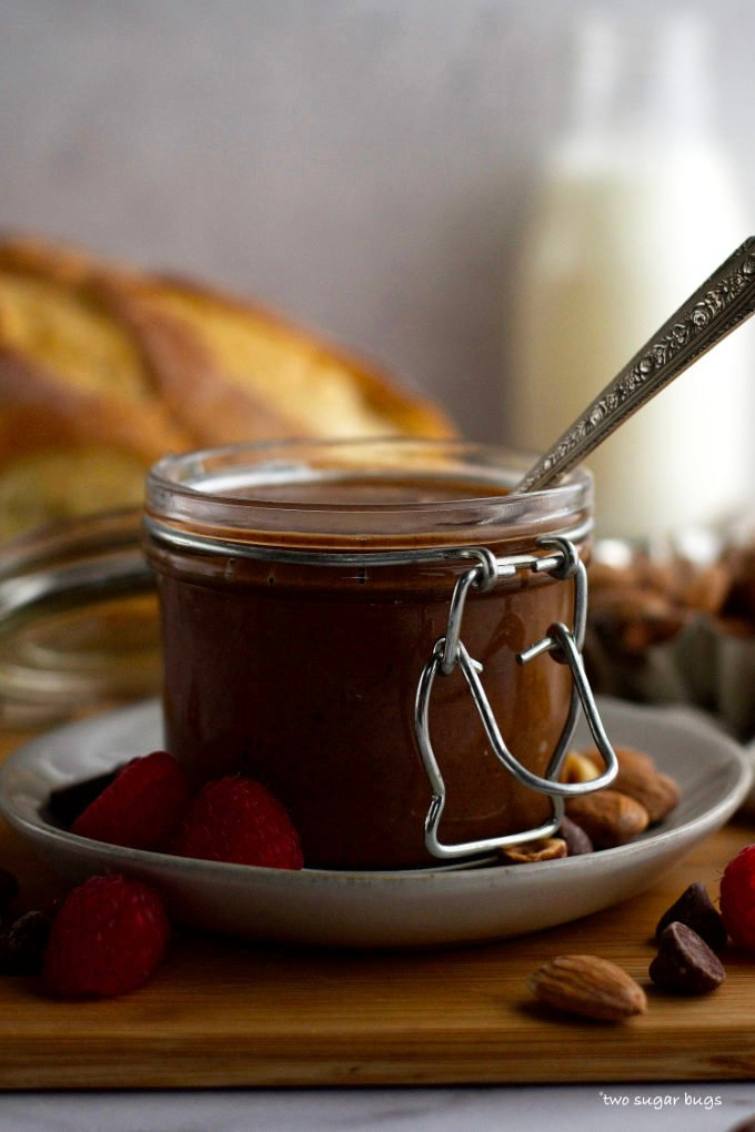 jar of chocolate spread with a spoon