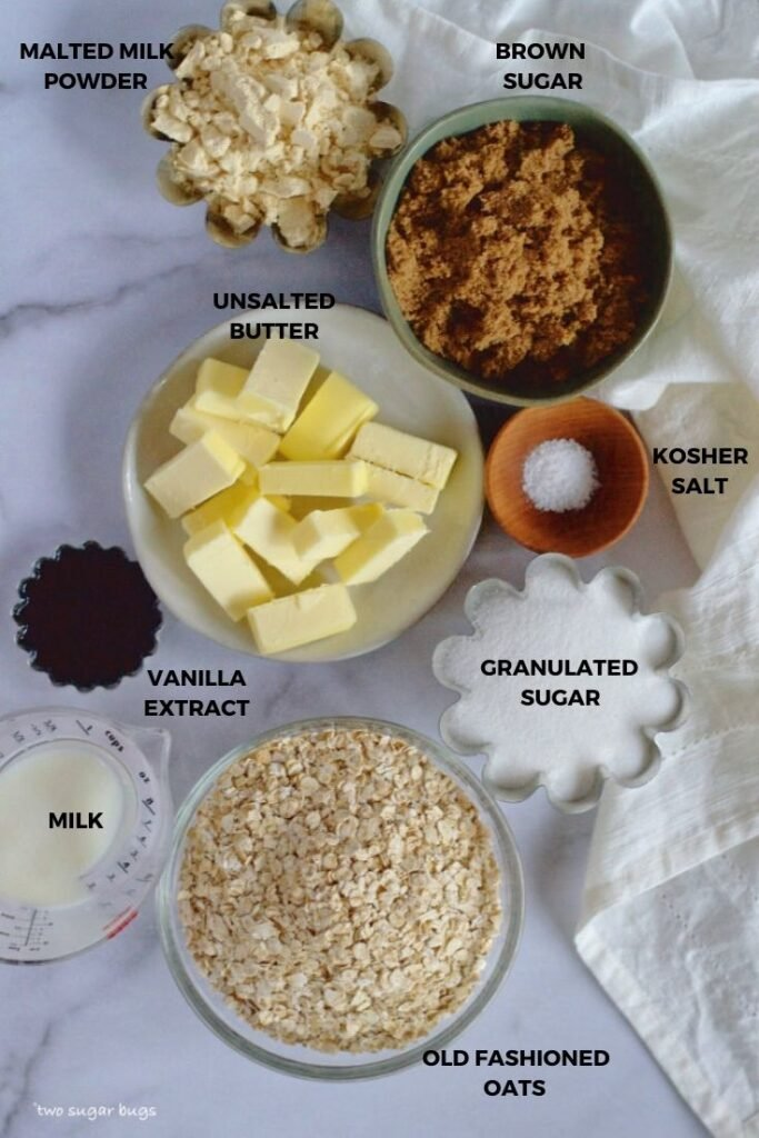ingredients for malted edible oatmeal cookie dough crust