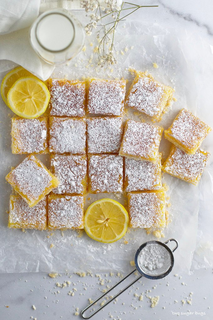 overhead shot of cut cookie bars with lemon slices and powered sugar sifter