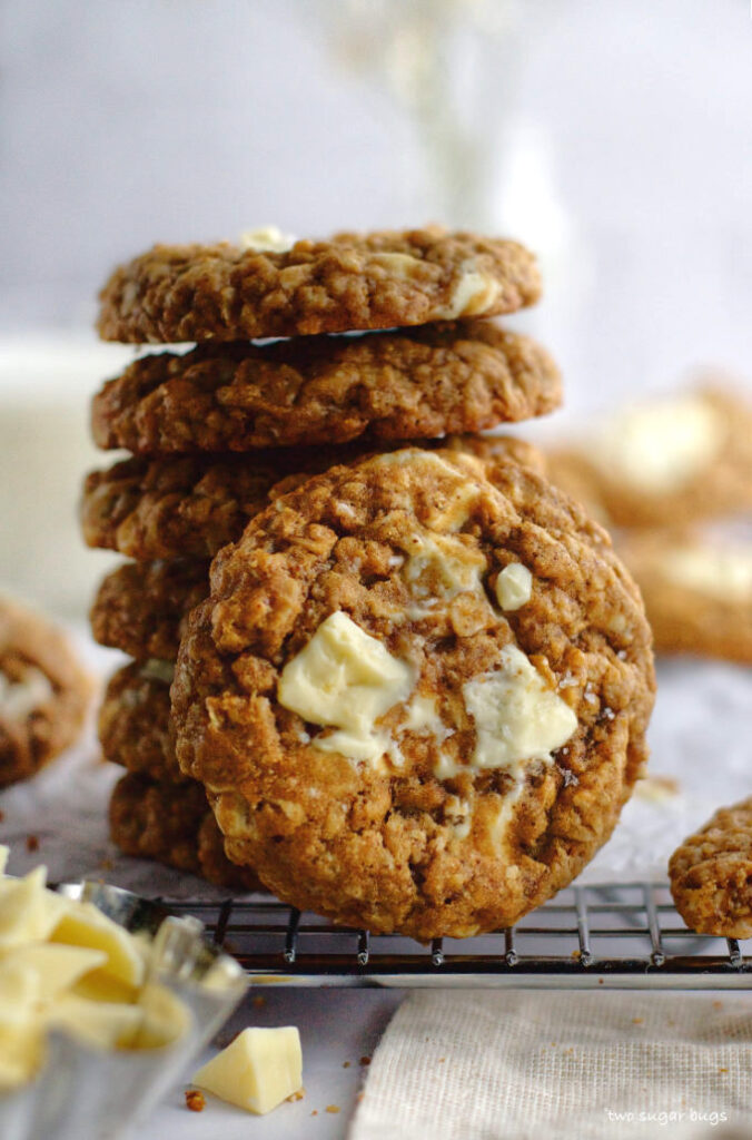 stack of brown butter oatmeal white chocolate cookies