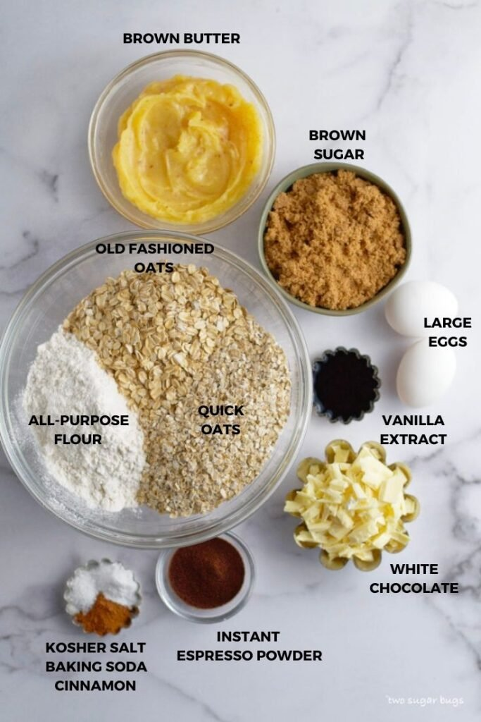 ingredients for brown butter oatmeal white chocolate cookies