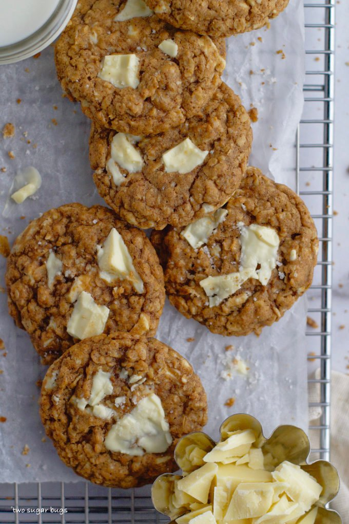 overhead look at brown butter oatmeal white chocolate cookies