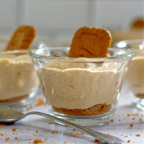 3 ingredient biscoff cookie mousse in a glass serving cup with a cookie on top