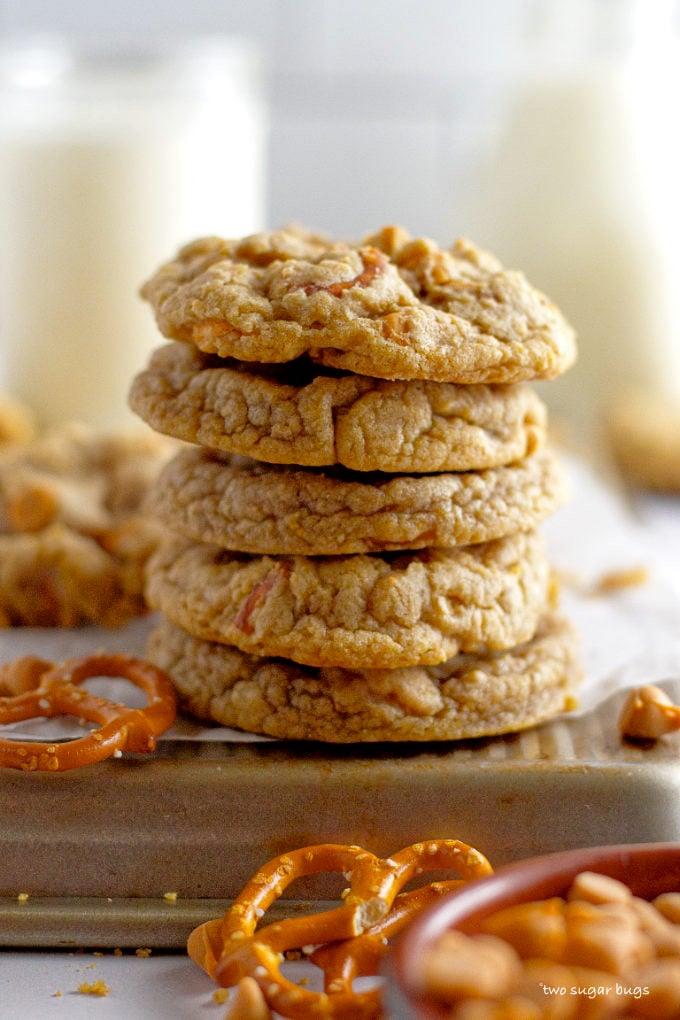 a stack of butterscotch pretzel cookies
