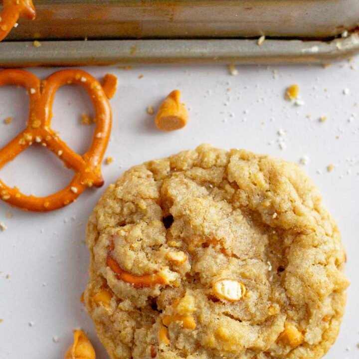single butterscotch pretzel cookie sitting on the counter