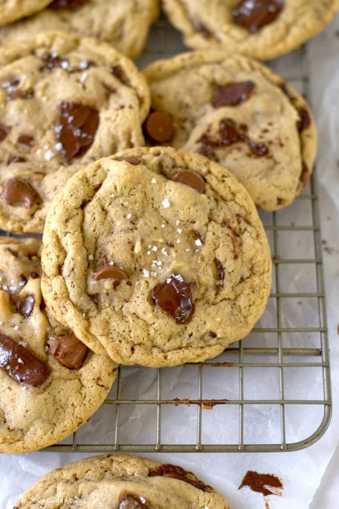 malted chocolate chip cookies on a wire cooling rack