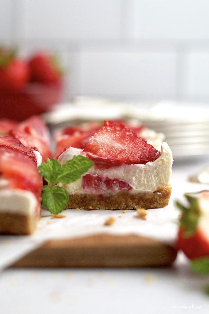 side view of no bake mascarpone cheesecake square