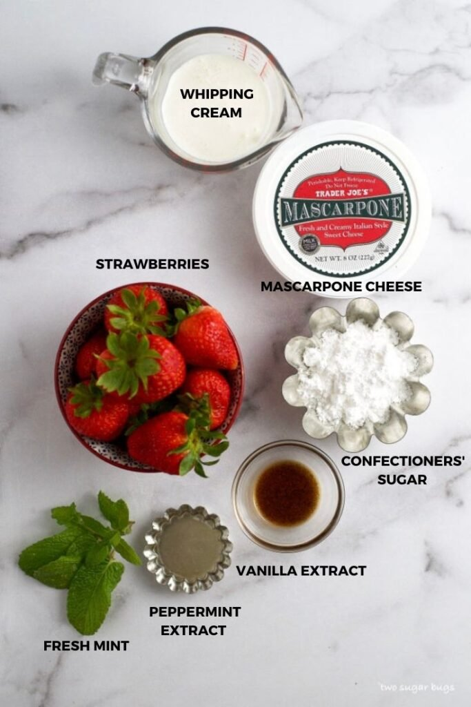 ingredients for mascarpone cheesecake with strawberries and mint